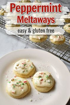 Looking for an easy gluten free cookies recipe to add to your holiday baking? Try these tasty gluten free peppermint meltaway cookies. These simple frosted cookies, topped with peppermint candy, disappear quickly.
