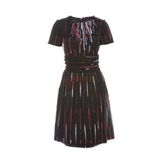 From the Fall 2010 collection. Black and multicolor Chanel wool short sleeve dress with sequin embellishment, fringe at neckline, two patch pockets at bust, tw…