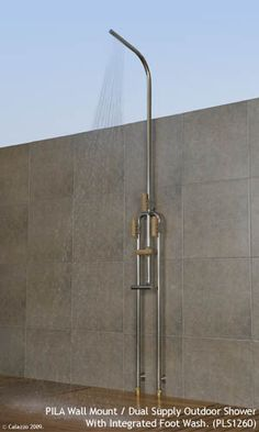 Calazzo.com - PILA Outdoor Showers - Wall Mount Dual Supply (Hot/Cold) with Integrated Foot Wash