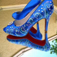 Blue Wedding Shoes Peep Toe Something Blue Shoes Sapphire Blue shoes beach Oceanside Wedding red soles Brittany. $275.00, via Etsy.