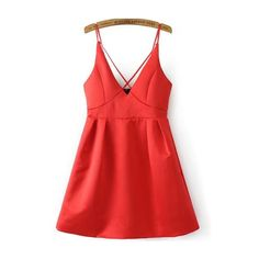 Criss Cross Bib Zipper Back Cami Dress ($20) ❤ liked on Polyvore featuring dresses, red, slip dress, a line dress, summer dresses, sleeveless summer dresses and short slip