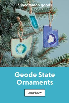 These states-shaped, stoneware ornaments feature crackled glass glazed surfaces that resemble geode slices.