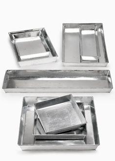 Galvanized Zinc Trays - $6-9.  Put under houseplants?