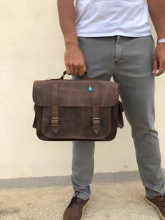 Leather Briefcase Men, Brown Leather Messenger Bag, 15 inch Laptop Bag, Gift for Him, Made in Greece. Laptop Briefcase, Briefcase For Men, Leather Briefcase, Laptop Bag, Brown Leather Messenger Bag, Black Leather Backpack, Messenger Bag Men, Black Leather Mules, Leather Men