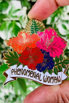 For the phenomenal woman you know this Mother's Day. Floral hibiscus enamel pin is a thoughtful reminder to the woman who owns it that she is phenomenal.