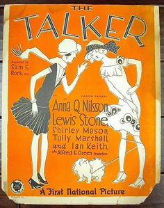 THE TALKER 1925 SILENT WINDOW CARD MOVIE POSTER  ANNA Q. NILSSON & LEWIS ST