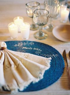 Personalized Place Mats -- See more on #SMP here: http://www.StyleMePretty.com/2014/04/09/welcome-dinner-for-the-jose-villa-mexico-workshop/ Jose Villa Photography - josevillaphoto.com -- Event Planning And Design: LisaVorce.com