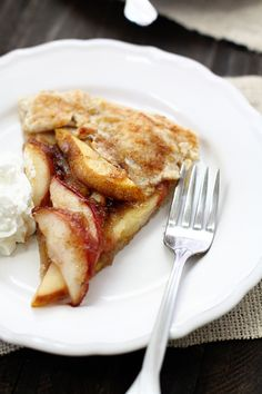 cinnamon pear crostata with almond oat crust and whipped cream