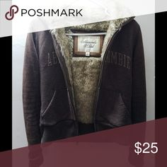 A&F faux fur hooded jacket Bundle up with this trendy, warm piece! Abercrombie & Fitch Jackets & Coats