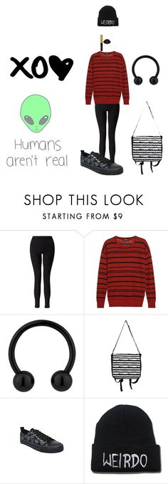 """Humans aren't real"" by tamakitten ❤ liked on Polyvore featuring Miss Selfridge, DKNY and Dickies"
