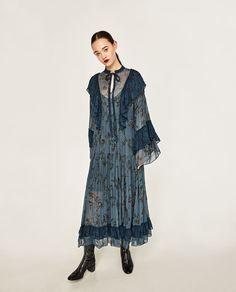 Image 1 of LONG STUDIO FRILLED DRESS from Zara