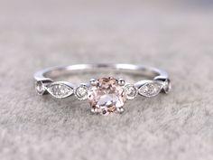 0.5 Carat Round Morganite Engagement Ring Diamond Promise Ring 14k White Gold Art Deco Antique Milgrain