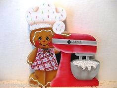 HP Gingerbread with cake mixer Shelf Sitter hand painted