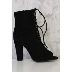 Black Lace Up Tie Detailing Peep Toe Single Sole Chunky Heel Booties Suede 2 Inch Heels, Lace Up Heels, Chunky Heels, Peep Toe, Retail, Booty, Stylish, Black