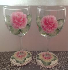 Hand painted wine glasses.