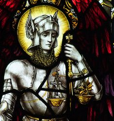 Archangel Michael in stained glass