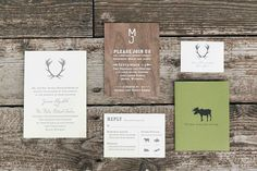 Jaimie + Miles's Rustic Jackson Hole Wedding Invitations via Oh So Beautiful Paper: http://ohsobeautifulpaper.com/2014/02/jaimie-miless-rustic-jackson-hole-wedding-invitations/ | Design: XOWYO | Letterpress Printing and Edge Painting: Boxcar Press | Wood Veneer Screen Printing: Cards of Wood | Photo: Hannah Hardaway #wedding.