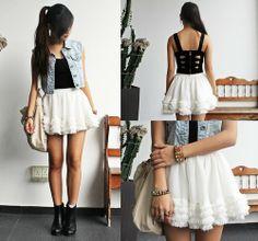 Black top, white skirt, jean's jacket. Such a pretty outfit.