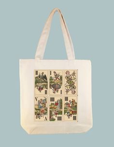 Vintage Tarot Cards Illustration 15x15 Canvas Tote -- Larger zipper top tote style and Personalization available