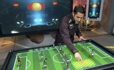 Televisa will use an interactive table to analyze in real time the moves of the Brazil World Cup matches Brazil World Cup, World Cup 2014, Interactive Table, Interactive Design, Digital Retail, World Cup Match, Virtual Studio, The Spectator, Football Match