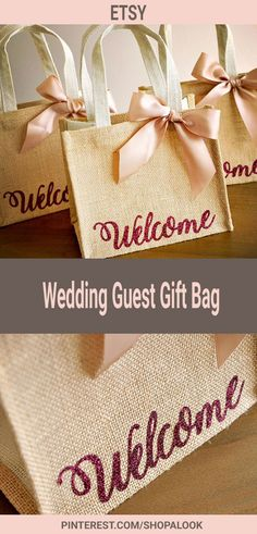Welcome Gift Bags. Wedding Guest Gift Bag. Hotel Welcome Bag. Burlap Gift Bag.#afflink #wedding #weddingideas