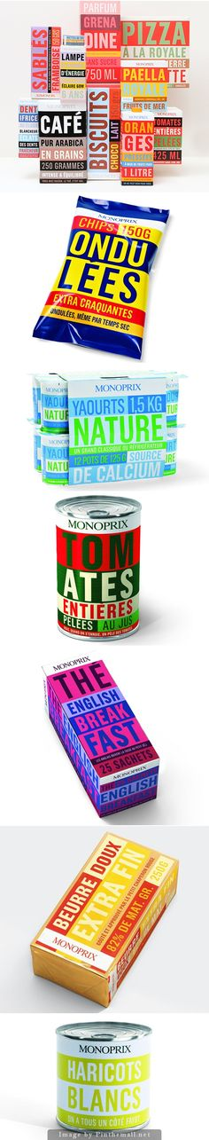 #Typography lovers dream #packaging Monoprix curated by Packaging Diva PD created via http://www.printmag.com/daily-heller/weekend-heller-packaging-to-make-saliva-flow/