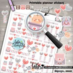 Valentines Stickers, Printable Planner Stickers, Kawaii Stickers, Valentines Day Stickers, Planner Accessories, Functional Stickers, Love