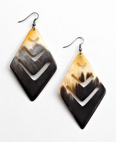 Heart of Haiti Jewelry, Geo Horn Earrings - Haiti & Rwanda Gifts