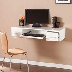 Create a productive, clutter-free office anywhere in your home with the Southern Enterprises Simon Wall Mount Desk. With a space-saving Scandinavian design, it has textured drawer fronts with brushed nickel hardware plus a pull-out tray and drawers. Home Office Desks, Home Office Furniture, Office Decor, Urban Furniture, Office Ideas, Furniture Ideas, Accent Furniture, Garden Furniture, White Wood