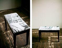 vintage piano bench / newborn birthday portrait