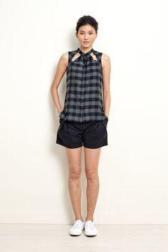Plaid Shirt with Cut Detail Sleeveless Shirt  by garylindesign, $80.00