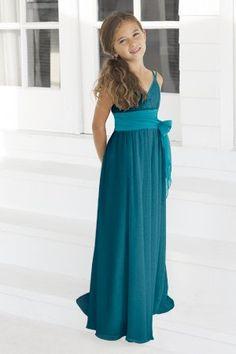 Charmeuse Bow,Spaghetti Straps,V-neck Style 45 Junior Bridesmaid Dress by Alexia Designs