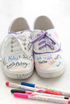Taylor Swift Party - decorate Keds with fabric markers as a craft and take home gift!