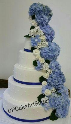Wedding Cake hidrangeas and roses in sugar