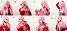 8 Hijab Tutorials Without Using Many Needles Style Style Turban Hijab, Hijab Wear, Muslim Brides, Muslim Couples, Tutorial Hijab Modern, Pashmina Hijab Tutorial, Kebaya Hijab, Hijab Stile, Pakistani Wedding Dresses