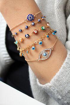 A personal favorite from my Etsy shop https://www.etsy.com/listing/246358619/18k-gold-plated-evil-eye-braceletgold
