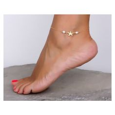 Starfish Anklet Gold Anklet Pearl anklet Freshwater Pearl Jewelry... ❤ liked on Polyvore featuring jewelry, gold jewellery, ankle bracelets, pearl jewelry, beach jewelry and gold ankle bracelets