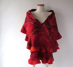 Felted ruffle scarf Red felt ruffle collar Wool warm scarf Flame collar Fire…
