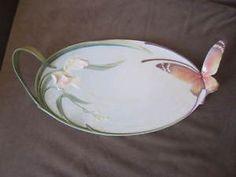 "Franz Porcelain Papillon Butterfly Sculpture Large 18"" Tray"
