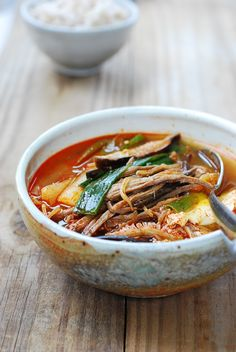 Yukgaejang (육개장) is a hearty, spicy beef soup that's highly popular in Korea. Made with shredded beef, lots of scallions and other vegetables such as gosari(fernbrake fiddleheads), beansprouts, and mushrooms, this is a substantial soup that has great depth of flavor. You won't need anything other than a bowl of rice for a …