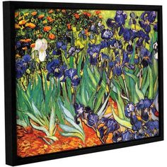 Vincent Van Gogh Irises In The Garden Floater-Framed Gallery-Wrapped Canvas, Size: 36 x 48, Blue