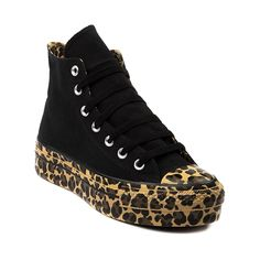 Womens Converse All Star Platform Hi Athletic Shoe, Black Cheetah Print   Journeys Shoes