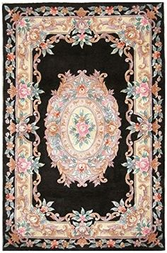 Chinese Premiere Superwashed Black Floral Rugs PSW133: Amazon.co.uk: Kitchen & Home