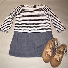 Gap: blue/white stripes & denim   ON: Tan suede lace ups