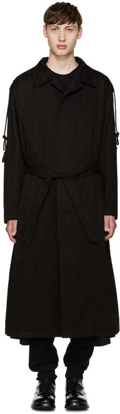 YOHJI YAMAMOTO Black Hooded Trench Coat. #yohjiyamamoto #cloth #coat