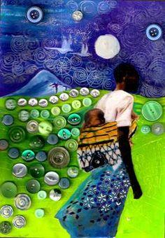 "Saatchi Online Artist Lyndsay Heldsinger; Assemblage / Collage, """"nightfall"""" #art"
