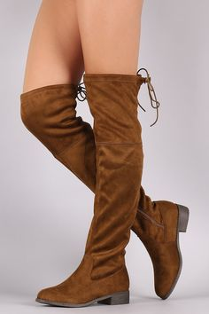 28fedb94c4a Round Toe Drawstring Tie Riding Suede Over-The-Knee Boots