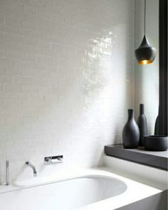 White and smart bathroom, with black decoration