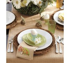 pretty Easter table-setting...love the bunny place card holders