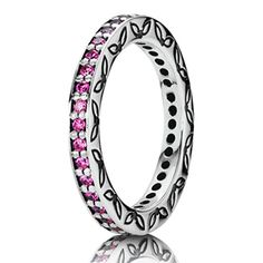Pandora .925 sterling silver hot Parisian pink cubic zirconia etching stackable ring Pandora Valentines Day 2013 Cute Gift Ideas for her from him. The perfect gift for a wife, fiance, love of your life...  Full Pandora jewelry line available at Silver & Sassy in North East MD. Phone: 410-287-1535